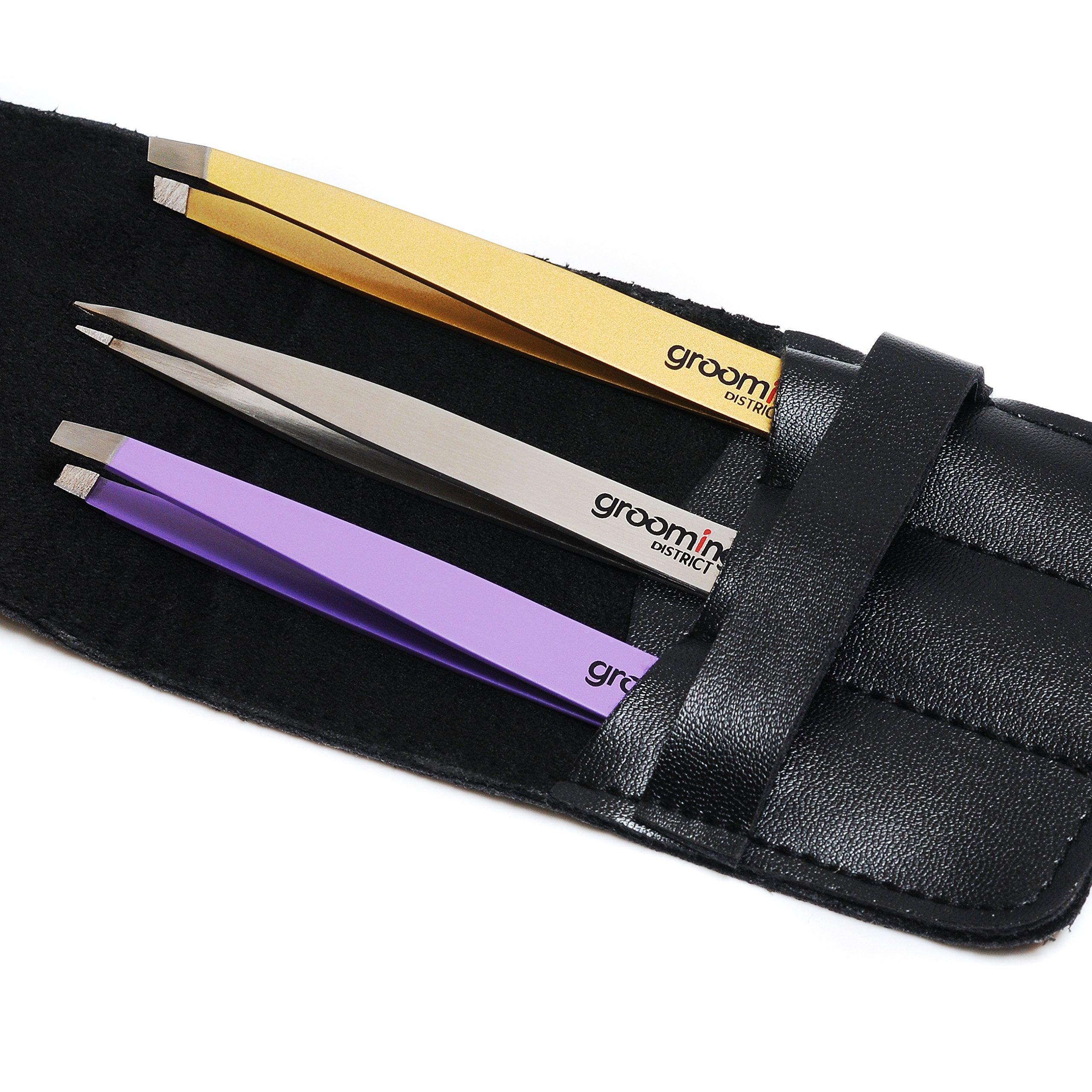 Grooming District Premium 3 Tip Tweezers Set with Case | Slant, Straight and Pointed Tip Stainless Steel Tweezer