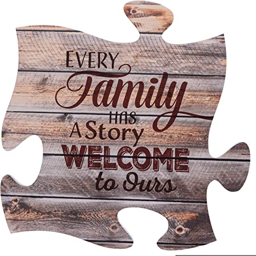 P Graham Dunn Every Family Has a Story 12 x 12 inch Wood Puzzle Piece Wall Sign Plaque