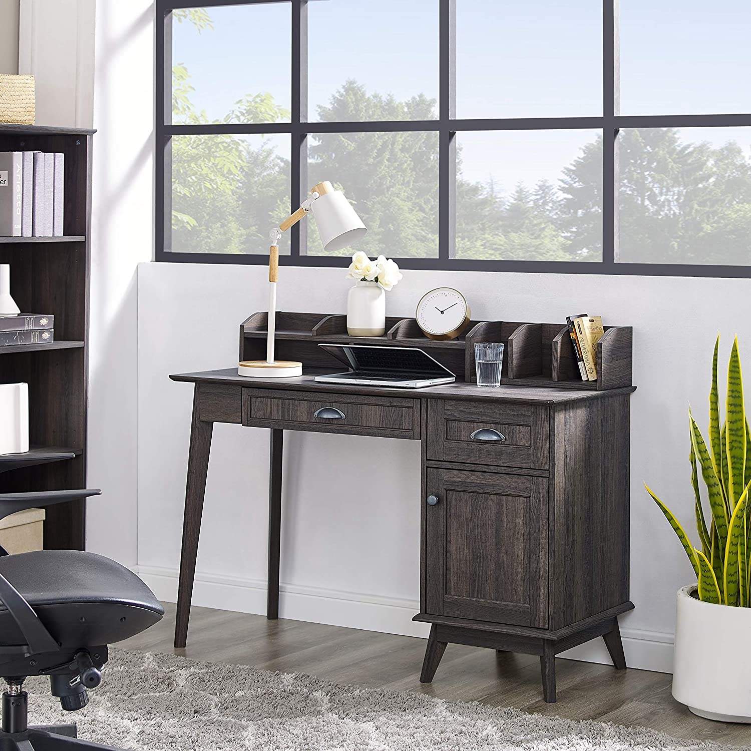 Newport Series Home Office Writing Computer Desk with Hutch Storage  Drawers and Cabinet  Sturdy and Stylish Easy Assembly  Laptop PC  Workstation
