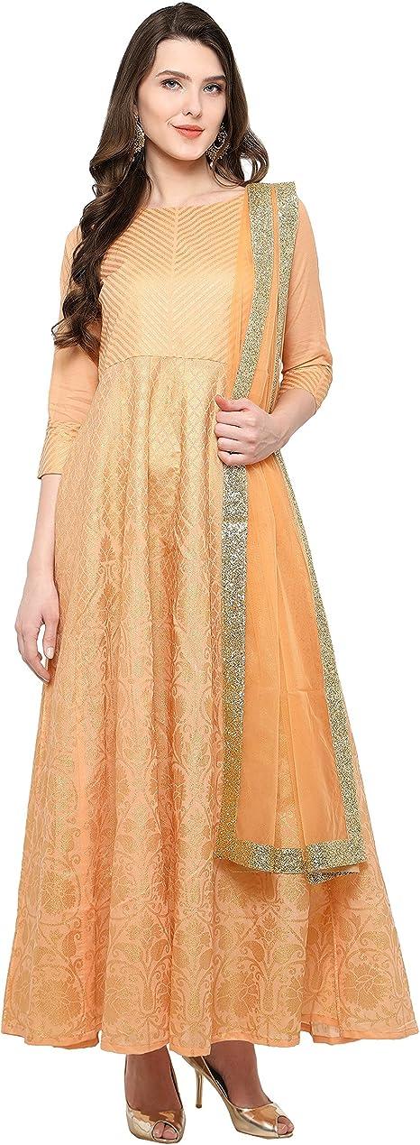 AHALYAA Women's Net Anarkali Kurta (Peach) Women's Salwar Suits at amazon