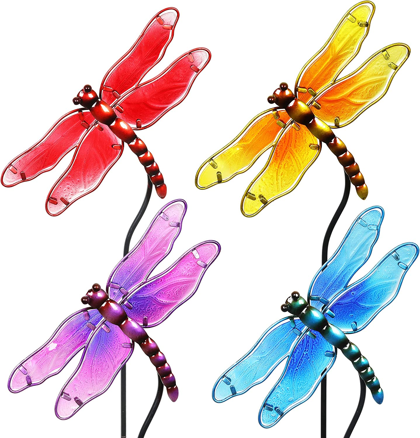 """Exhart Colorful Dragonfly Decorations– Durable Glass """"Dragonfly"""" Garden Stakes, Garden Stake Set: Red, Yellow, Turquoise, Purple – Dragonfly Decor for Garden/Yard (8.25"""