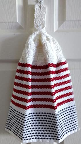 Amazon Patriotic White Basket Weave Crocheted Topped Kitchen