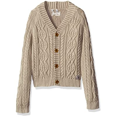 GUESS Boys' Long Sleeve Cable Knit Cardigan Sweater