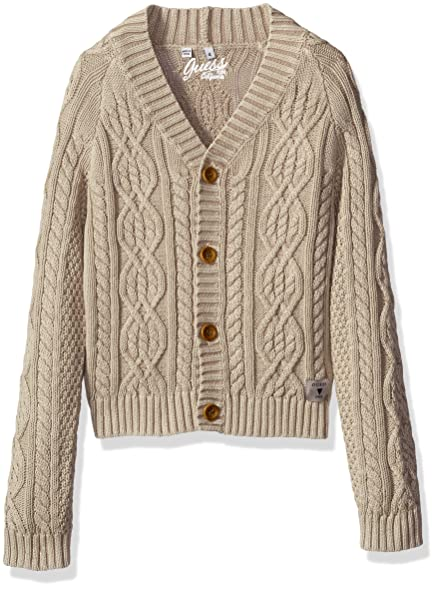 Amazon.com: GUESS Boys' Long Sleeve Cable Knit Cardigan Sweater ...