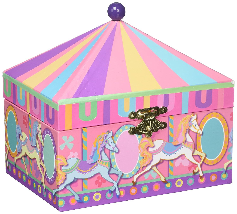 Musicbox Royaume 28071Carrousel Boîte à bijoux musicale tourne sur la mélodie 'Boléro' décoration de chambre Musicbox Kingdom
