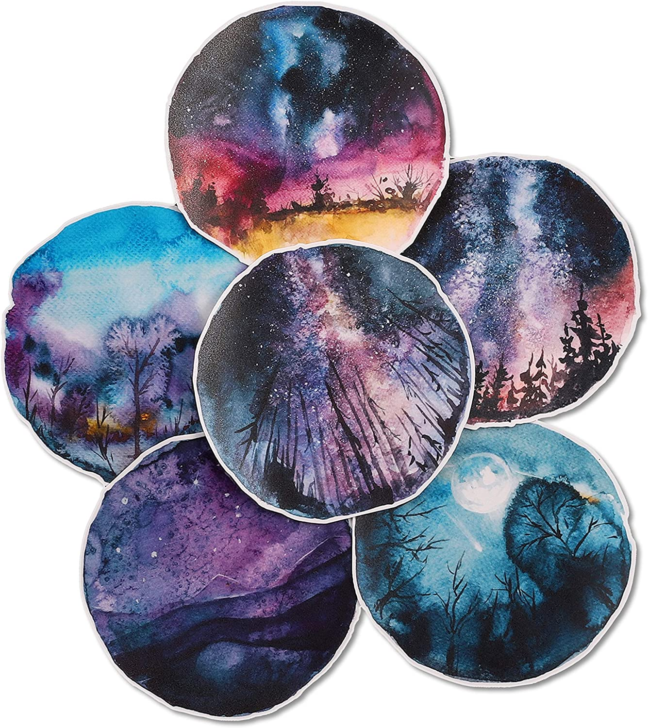 Navy Peony Starry Night Sky Stickers (6 Pack) - Big, Cute, Waterproof and Durable | Artsy Constellation Decals for Water Bottles, Laptops, Scrapbook