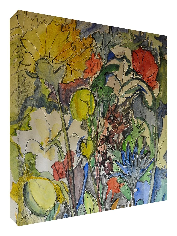 Feel Good Art Leinwand leuchtenden Farben gehören des Künstlers Val Johnson Floral Medley 96x 96x 4cm Größe XXL