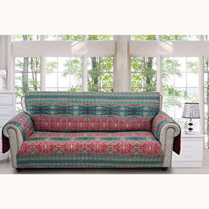 Barefoot Bungalow Dakota Eclectic Print Sofa Furniture Protector   127x77  Sunset