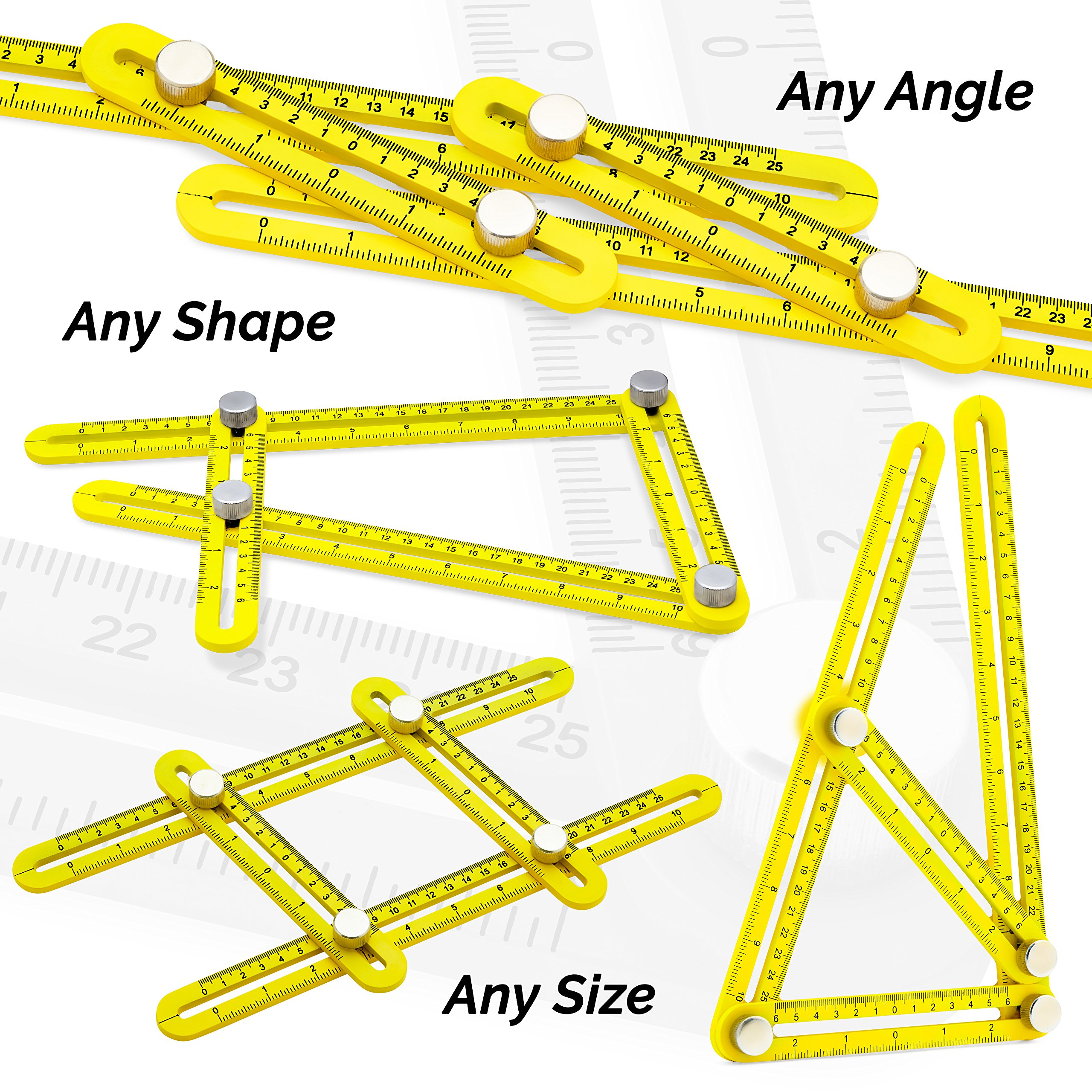 Universal Angularizer Ruler and Multi-Angle Measuring Tool in Yellow Metal - Template Tool Makes Great Gifts for Men Him Husband Dad Father DIY by Premium Rhino (Image #7)