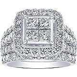 La4ve Diamonds 4.00 Carat Diamond Bridal Ring In 14KT White Gold. (Color - H-I) (Clarity I1).