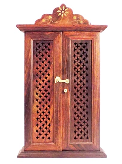 Crafts'man Wooden Wall Hanging Double Door Key Box Holder/rack/cabinet - Amazon.com: Crafts'man Wooden Wall Hanging Double Door Key Box