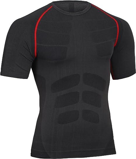 AMZSPORT Camisa de Compresi/ón para Hombre Camiseta de Manga Corta Fitness Shirt