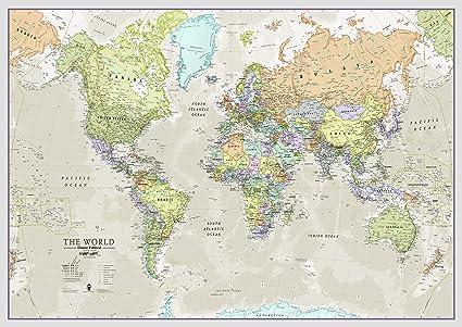 Maps International - Mapa del mundo grande, póster clásico con el ...