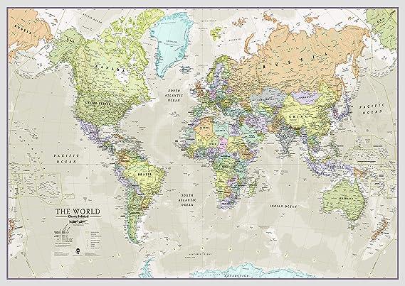Maps International - Mapa del mundo grande, póster clásico con el mapa del mundo, plastificado – 118,9 x 84,1 cm – Colores clásicos: Amazon.es: Oficina y papelería