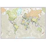 Maps International - Mapa del mundo grande, póster clásico con el mapa del mundo, plastificado – 118,9 x 84,1 cm – Colores clásicos