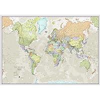 World Map Classic Style - Front Sheet Lamination - Cartographic Detal - 118.9 x 84.1 cm