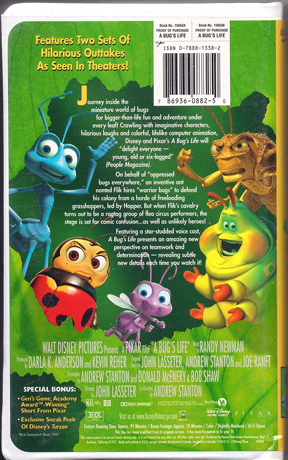Amazon Com A Bug S Life Vhs Kevin Spacey Dave Foley Julia Louis Dreyfus Hayden Panettiere Phyllis Diller Richard Kind David Hyde Pierce Joe Ranft Denis Leary Jonathan Harris Madeline Kahn Bonnie Hunt Andrew Stanton