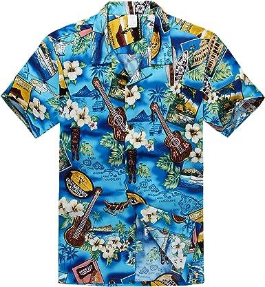 Hombres Aloha Camisa Hawaiana en Paraíso Azul
