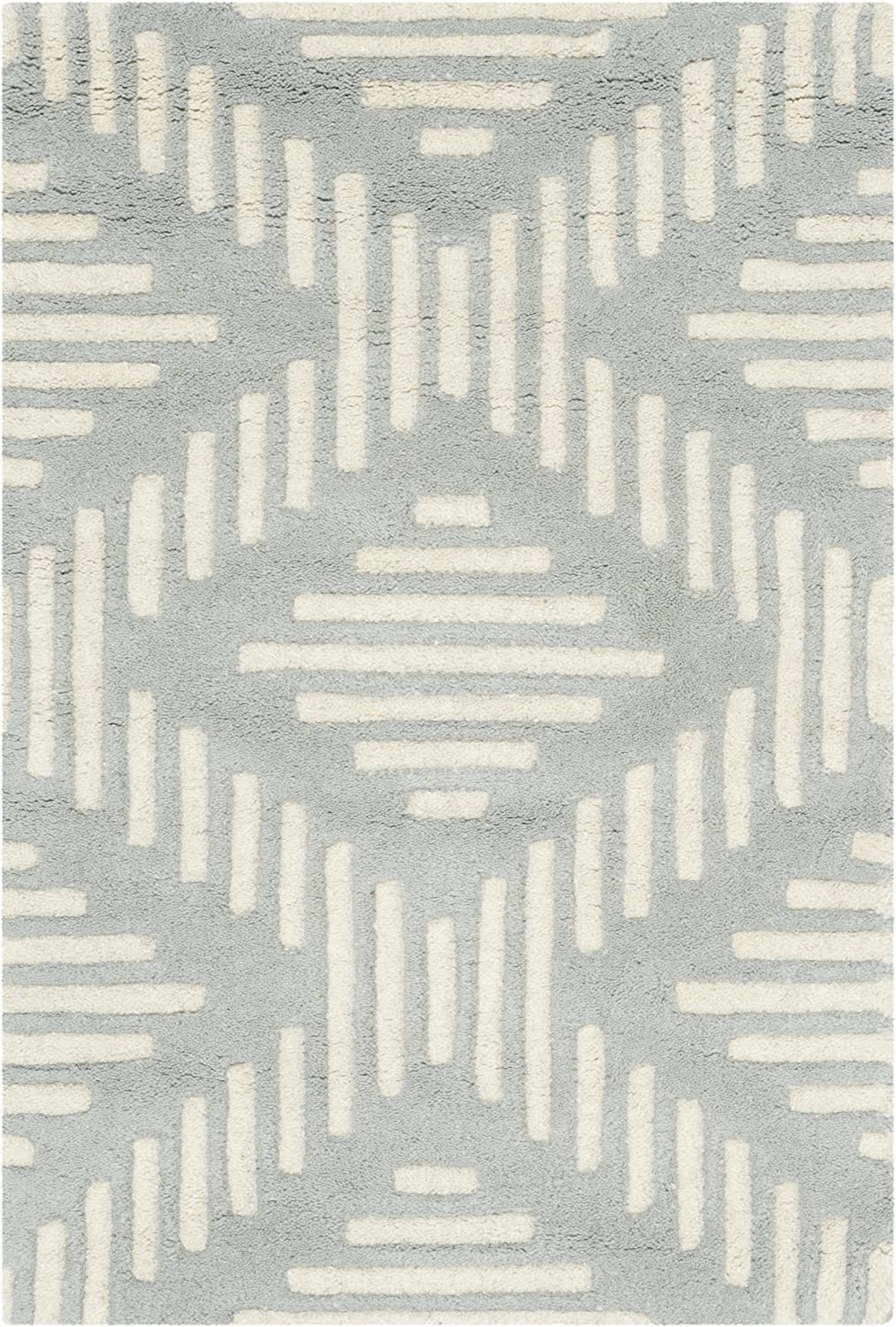 Safavieh Chatham Collection Cht744e Handmade Geometric Premium Wool Accent Rug 2 X 3 Grey Ivory Furniture Decor