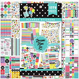 Planner Stickers - 28 Sheets, 1378 Stunning Design Accessories for Journals and Calendars, Essential Planner Accessories by Tullofa - Green