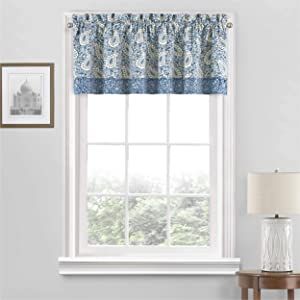 "Waverly Paisley Verveine Short Valance Small Window Curtains Bathroom, Living Room and Kitchens, 52"" x 18"", Blue Jay"