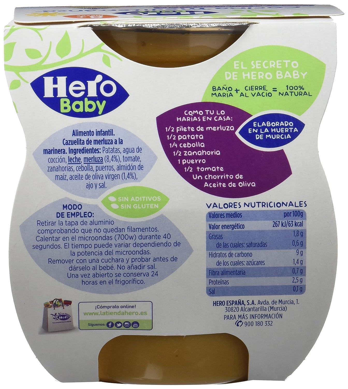 Hero Baby Cocina Mediterránea Cazuela de Merluza a la Marinera, Tarrina de Plástico - Paquete de 2 x 200 gr - Total: 400 gr - , Pack de 6: Amazon.es: ...