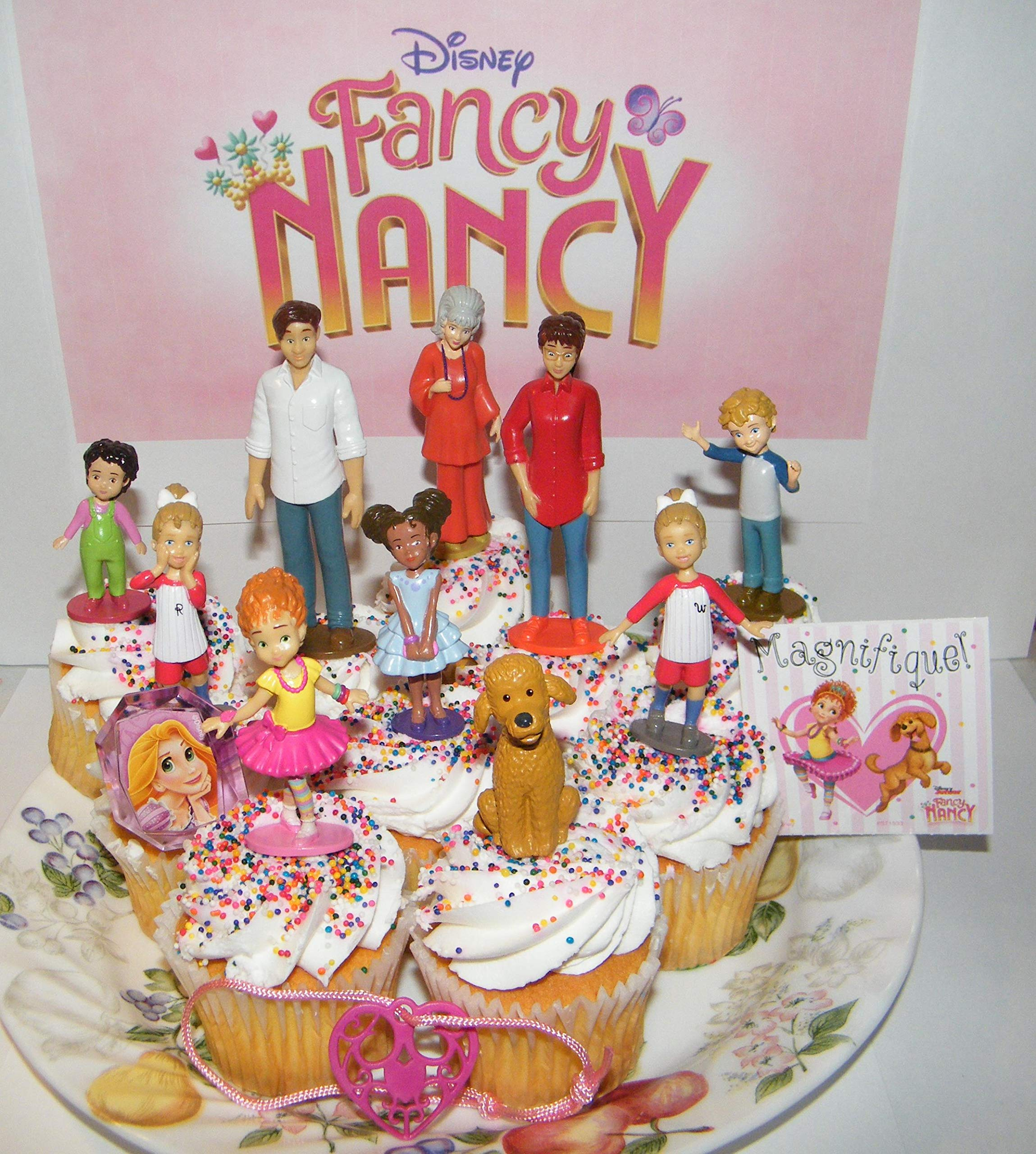 Fancy Nancy Deluxe Cake Toppers Cupcake Decorations Set of 13 with 10 Figures, Featuring Nancy and Friends, the Dog Frenchy, Fun Sticker and 2 Fashion Accessories! by Party Time