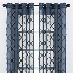 Chanasya 2-Panel Moroccan Embroidered Grommet Textured Sheer Curtain Panels - for Windows Living Room Bedroom Kitchen Office - Translucent Window Drapes for Home - 52 x 96 Inches Long - Dark Blue