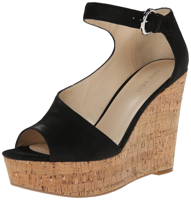 Nine West Women's Adyssinian Nubuck Wedge Sandal B00QX2Y8FW 10 B(M) US|Black
