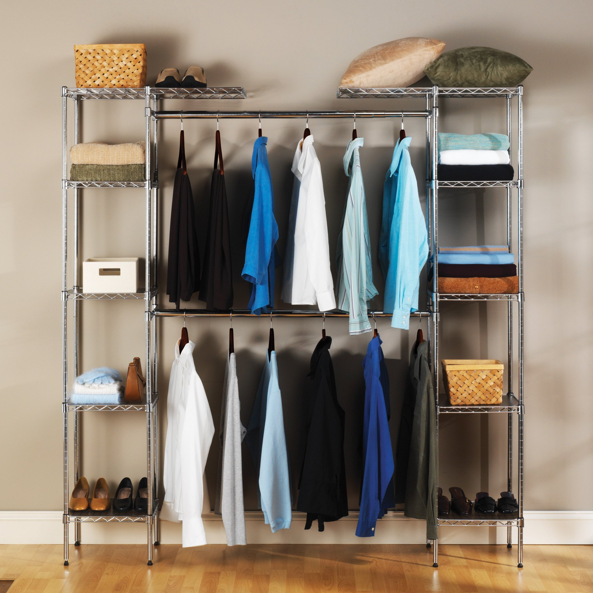 Seville Classics 14'' Deep Heavy Duty Steel Wire Expandable Closet Organizer - Bedroom Space Saving - Free Standing Cloth Rack - Adjustable Height of Shelves, Hanging-rods and Width - 10 Years Limited Warranty