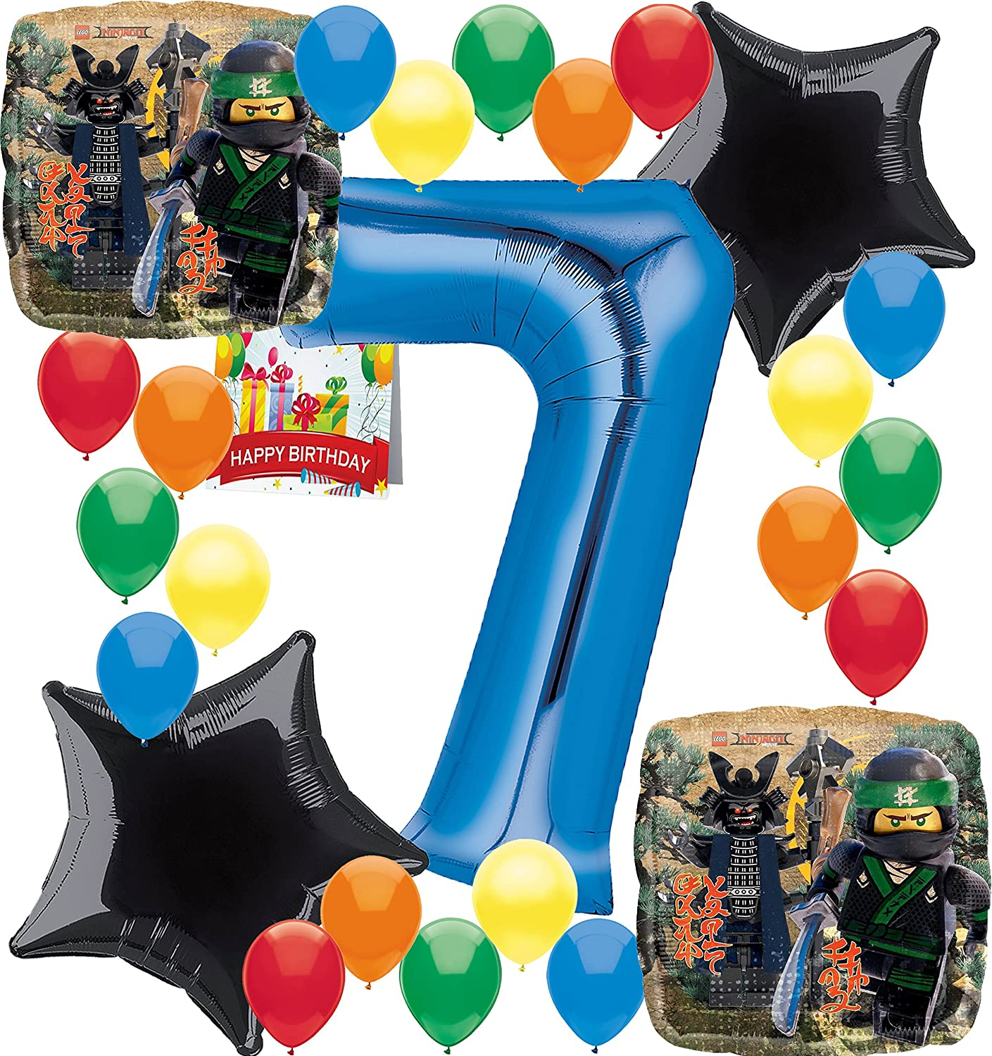 7t... Lego Ninjago Birthday Party Supplies Number Balloon Decoration Bundle For