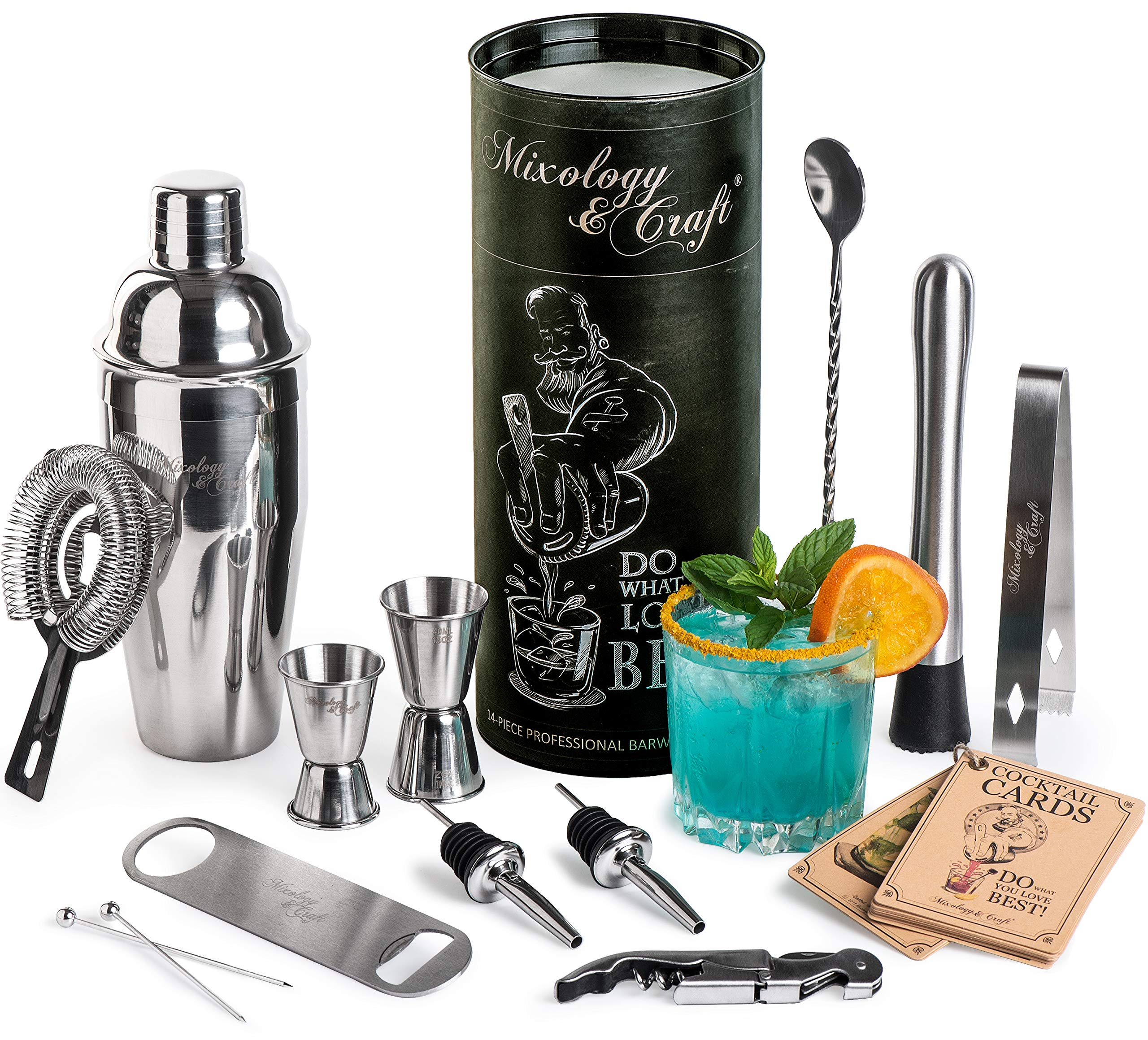 Mixology Bartender Kit: 14-Piece Cocktail Shaker Set - Bar Tool Set For Home and Professional Bartending - Martini Shaker Set with Drink Mixing Bar Tools - Exclusive Cocktail Picks and Recipes Bonus by Mixology & Craft