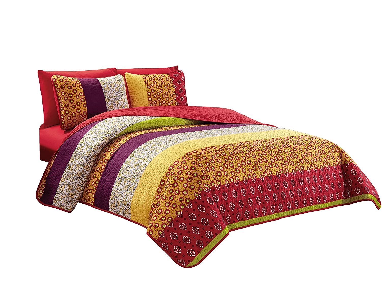 Chezmoi Collection Ivan 6-Piece Paisley Medallion Striped Bedspread Coverlet Set with Fitted Sheet Queen Size