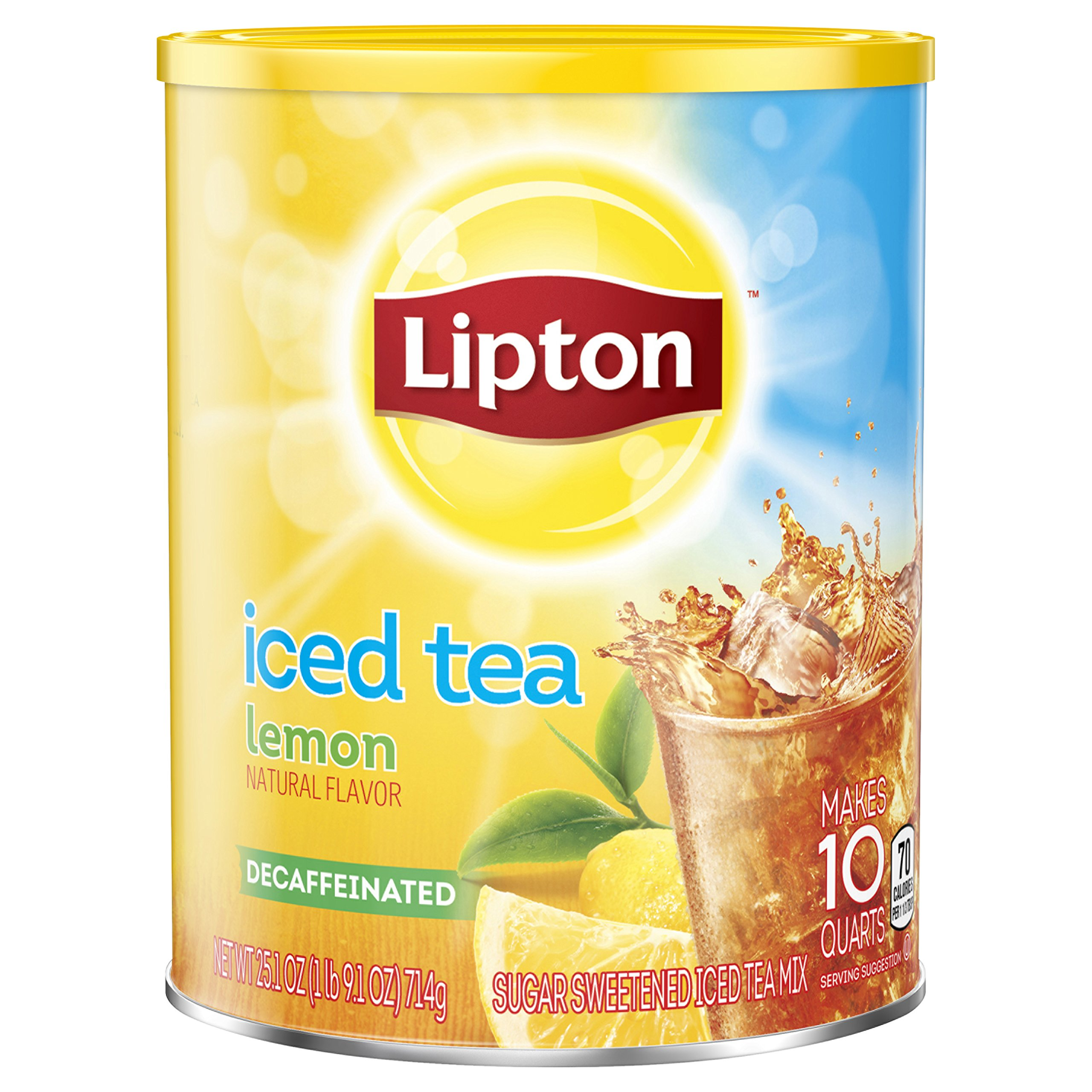 Lipton Black Iced Tea Mix, Decaf Lemon Sweetened, 10 Quart - Pack of 3