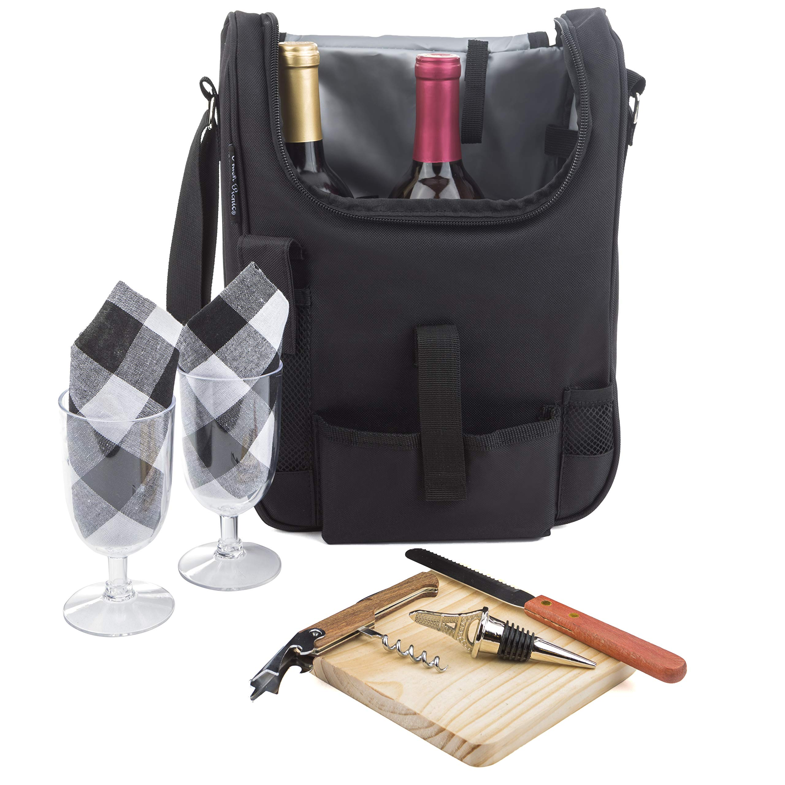 Insulated Travel Wine Tote Bag: Portable 2 Bottle Wine and Cheese Waterproof Black Canvas Carrier Bag Set with Picnic Backpack Kit (Black) by Plush Picnic (Image #1)