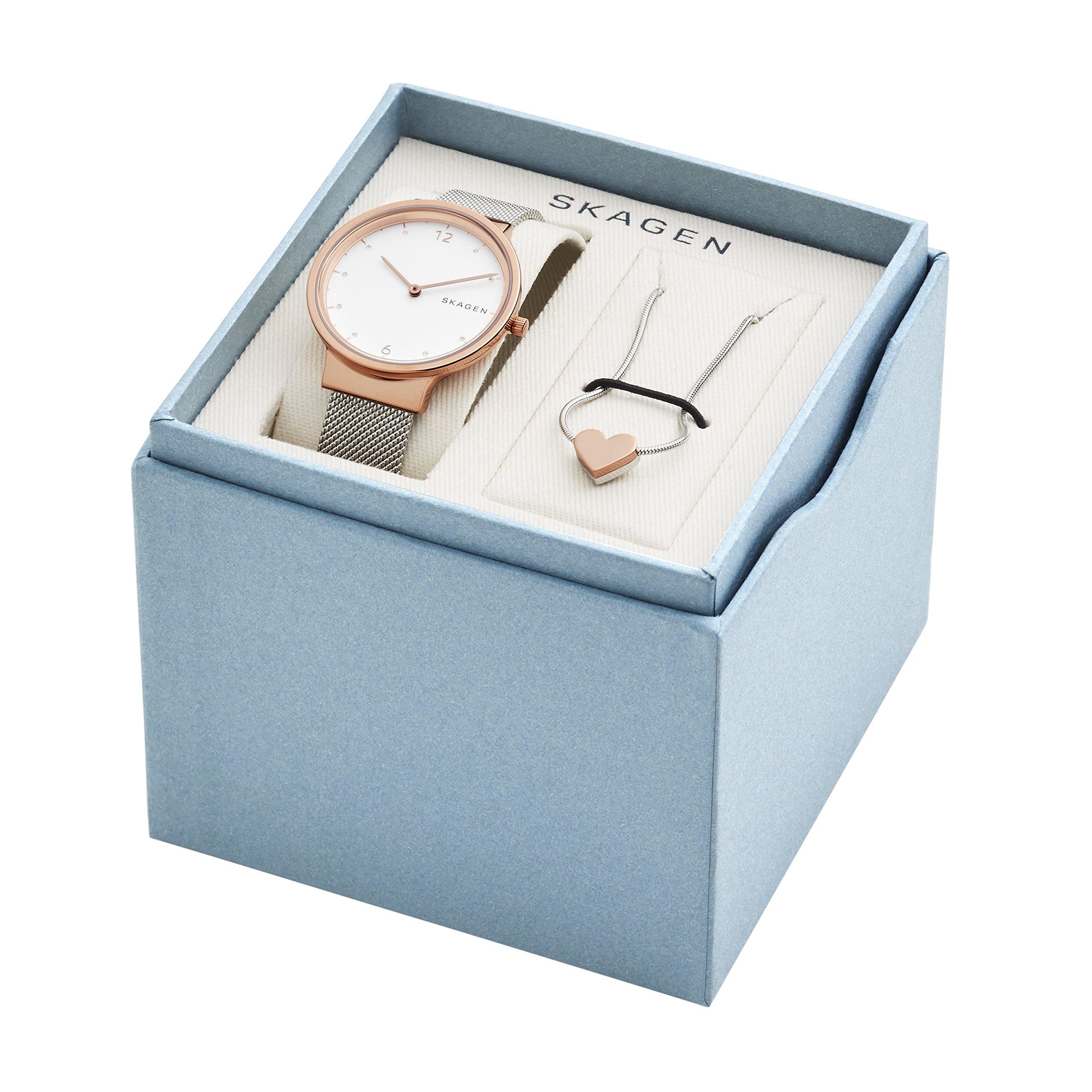 Skagen  Women's  SKW1086 Ancher Steel-Mesh Watch and Katrine Necklace Box Set