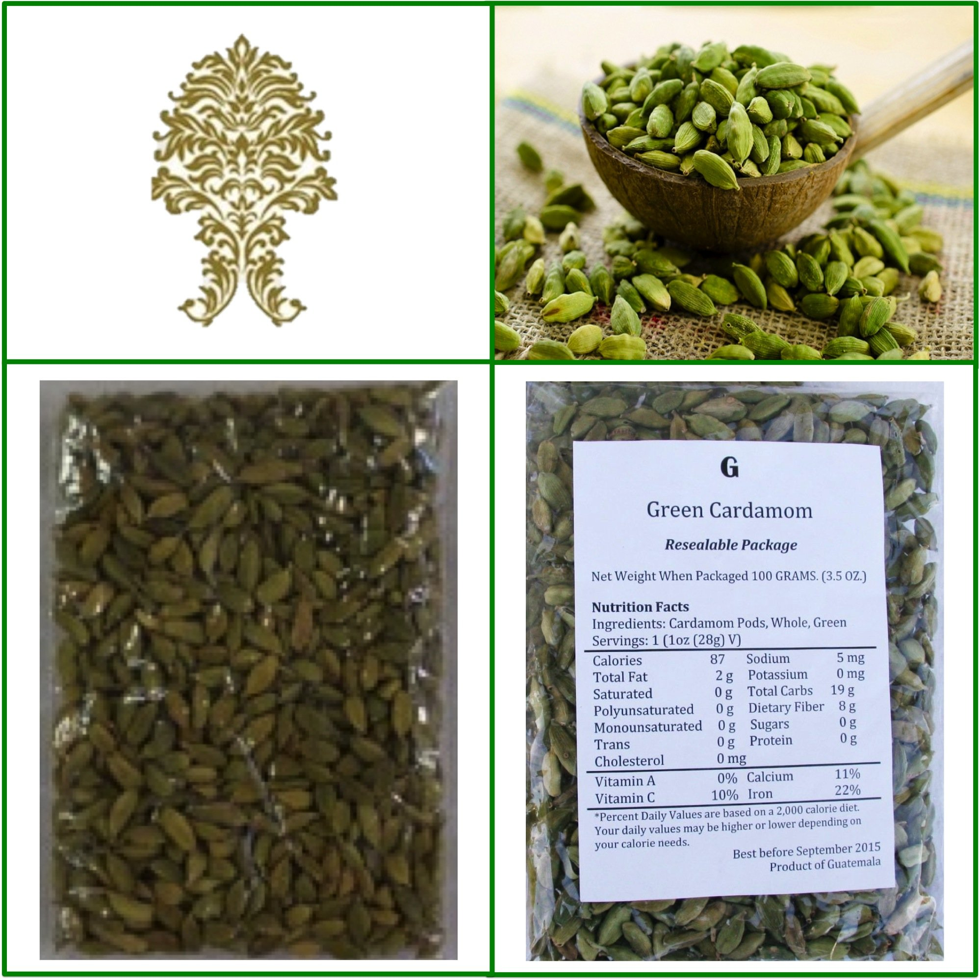 Natural Green Whole Cardamom Pods (elaichi, elachi, hal) - 7 Oz, 200g. by Ganeshaspice
