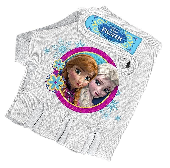 Stamp Frozen Guantes de Bicicleta para niña, Color Blanco