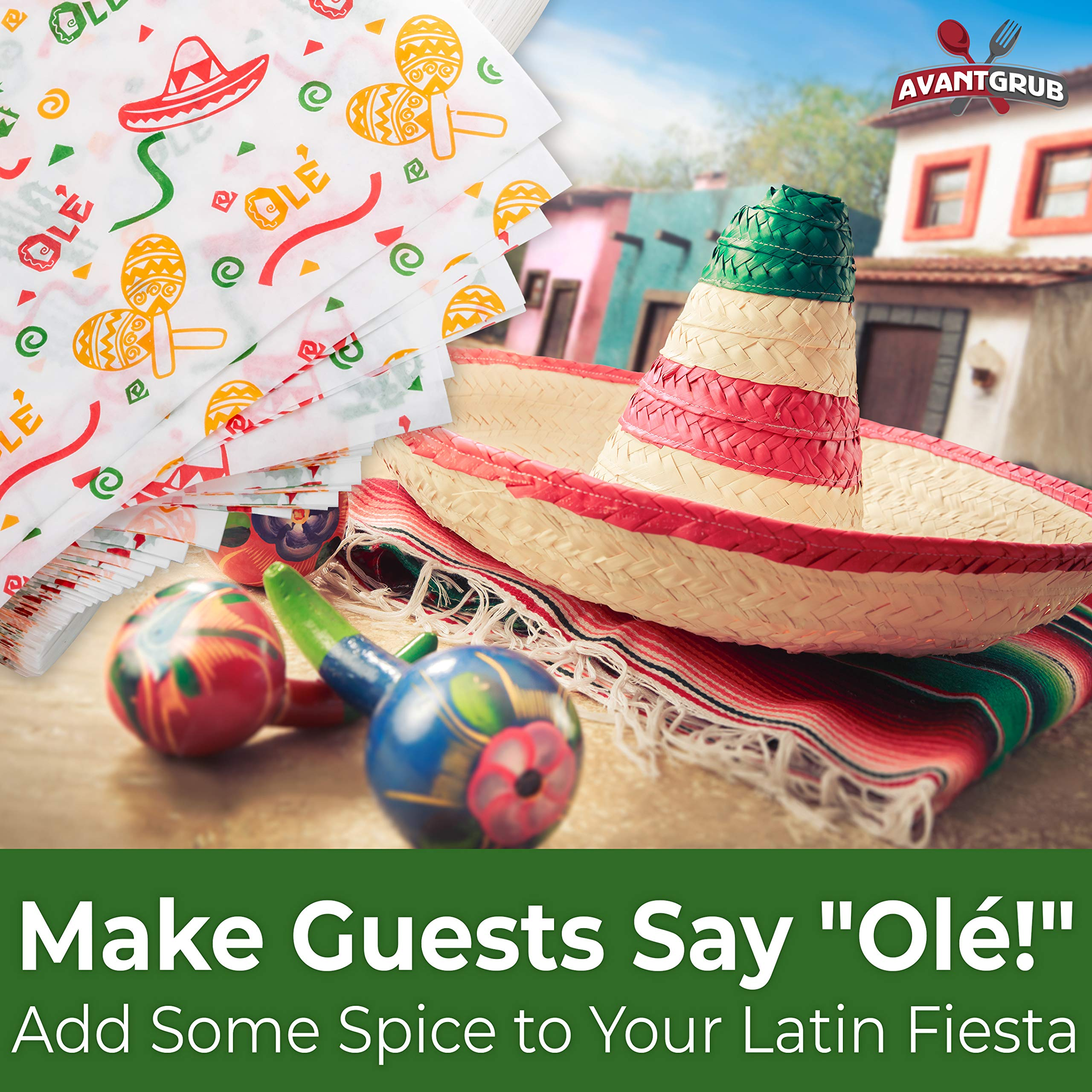 Fun, Fiesta Style 12in Deli Paper 1000 Ct. Greaseproof, Microwave-Safe Mexican Themed Tissue Great for Burrito Wrappers or Nacho Basket Liners. Southwest Party Supplies for Cinco de Mayo Celebration by Avant Grub (Image #4)