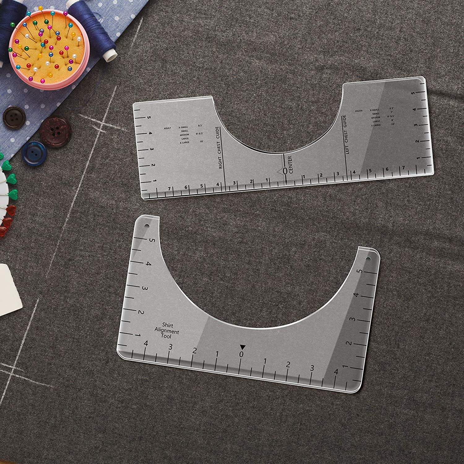 2 Pieces T-Shirt Alignment Tool T-Shirt Ruler Guide T-Shirt Vinyl Ruler Guide Sublimation Designs on T-Shirt Transparent Acrylic Centering Ruler with Size Chart for Fabric Cutting File Supplies