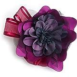 Broche fleur en tissu satin, taffetas, tulle. Couleur violet, bordeau et noir.