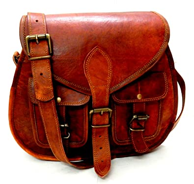 aafb63b81bee Image Unavailable. Image not available for. Color  Firu-Handmade Women  Vintage Style Genuine Brown Leather Crossbody ...