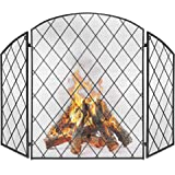 Best Choice Products 3-Panel 50x30in Wrought Iron Decorative Mesh Fireplace Screen Gate Protector, Fire Spark Guard for…