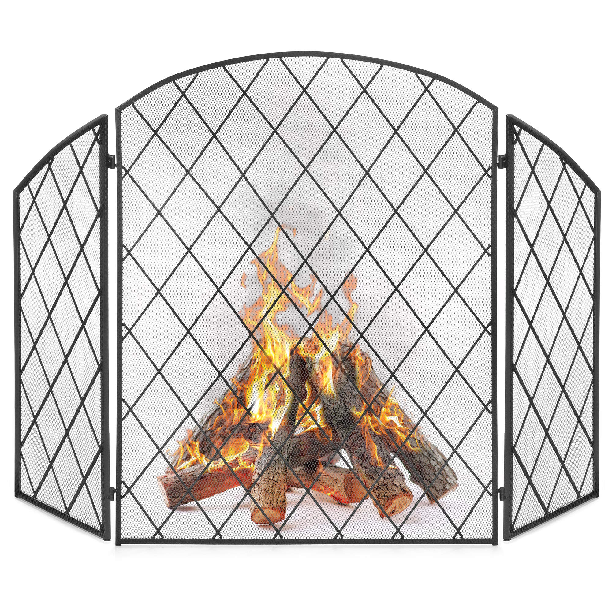 Best Choice Products 3-Panel 50x30in Wrought Iron Decorative Mesh Fireplace Screen Gate Protector, Fire Spark Guard for Indoor and Outdoor with Folding Side Panels, Black by Best Choice Products
