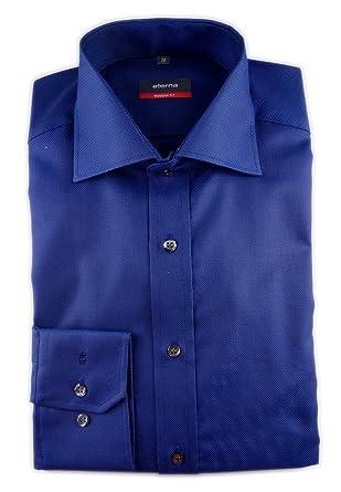ETERNA Herren Langarm Hemd Modern Fit Natté blau strukturiert 4000.13.X187  (Kragenweite: 38