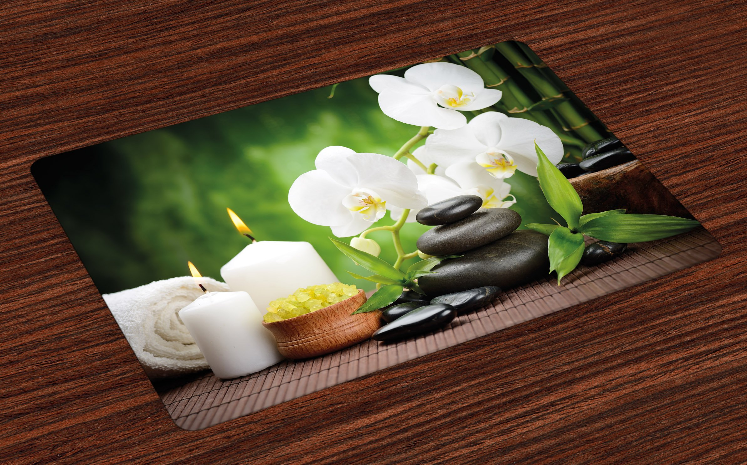 Ambesonne Spa Place Mats Set of 4, Zen Stones with Orchid and Candles Green Plants at the Background Print, Washable Fabric Placemats for Dining Room Kitchen Table Decor, White Green and Black