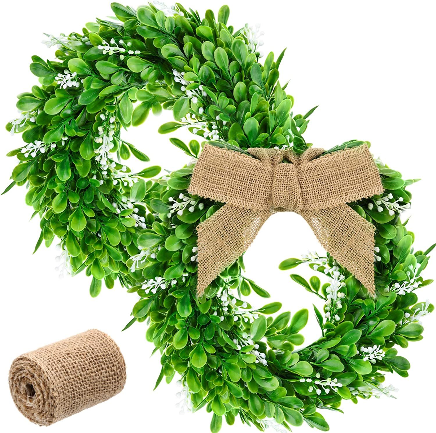 WILLBOND 2 Pieces 11.8 Inch Artificial Outdoor Wreath Christmas Wreath Green Leaves Wreath with 16 Feet Sackcloth for Front Door Christmas Decoration Farmhouse Wall Window Wedding Party