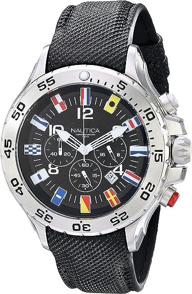 Nautica N16553G Reloj de Acero Inoxidable con Correa Negra para Hombre: Nautica: Amazon.es: Relojes