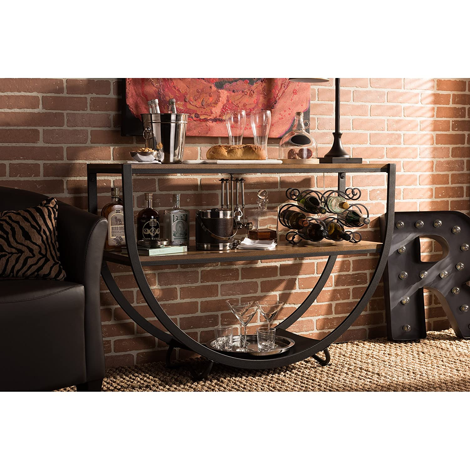 Amazon.com: Baxton Studio Blakes Rustic Industrial Style Antique Textured  Metal Distressed Wood Console Table, Black: Kitchen U0026 Dining