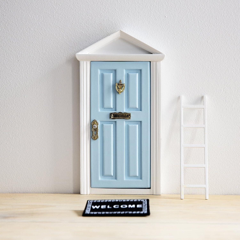 Ratoncito Pérez: Puerta Mágica Azul + Pequeña Llave + Postal de Felicitación + Dibujo para colorear + pequeño felpudo + plantilla para las huellas + pequeña escalera Puertadelratoncitoperez.com